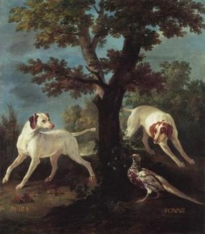Jean-Baptiste Oudry, Perle et Ponne, chiennes de la meute de Louis XIV, 1686, Fontainebleau, château