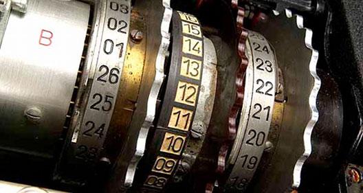Cylindre de la machine Enigma, Heinz Nixdorf Museum, Allemagne