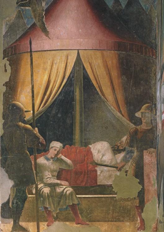 Le songe de Constantin avant la bataille du pont Milvius (fresque de Piero della Francesca, Arezzo, église san Francesco, vers 1460)