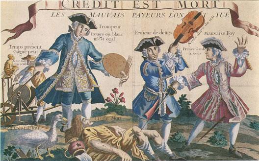 Crédit est mort, image populaire du XVIIIe siècle (musée d'Épinal)