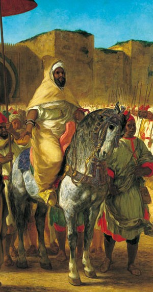 Moulay Abd-er-Rahman, sultan du Maroc, sortant de son palais de Meknes, entouré de sa garde et de ses principaux officiers (1845, Eugène Delacroix, 340x377 cm, musée des Augustins, Toulouse)