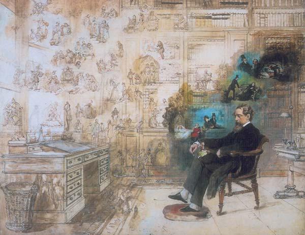 Le rêve de Dickens (aquarelle inachevée de l'illustrateur Robert Buss, réalisée après 1870, musée Charles Dickens, Londres)