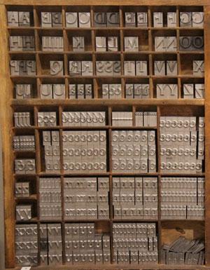 Casier d'imprimerie, Figeac, musée Champollion.