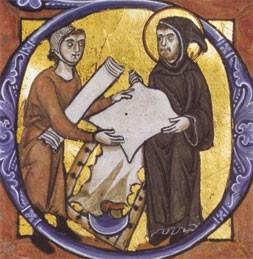 Moine achetant du parchemin, manuscrit allemand, XIIIe s., Det Kongelige Bibliotek, Copenhague.