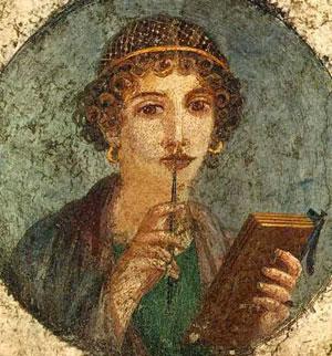 Portrait de jeune fille dite Sapho, fresque romaine de Pompéi, 1er s. ap. J.-C., musée archéologique, Naples