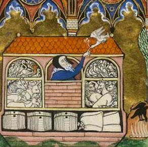 Noé et la colombe, Psautier de saint Louis, XIIIe s., BNF, Paris