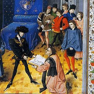 Jean Méliot présentant son livre à Philippe le Bon, Traité sur l'Oraison dominicale, 1457, Bibliothèque royale, Bruxelles