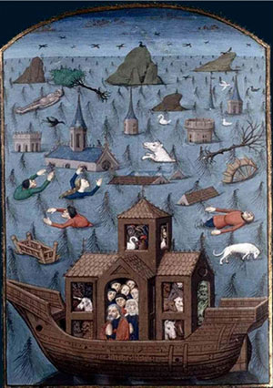 Le Déluge, illustration de Saint Augustin, De Civitate Dei, XVe siècle, BnF, Paris.
