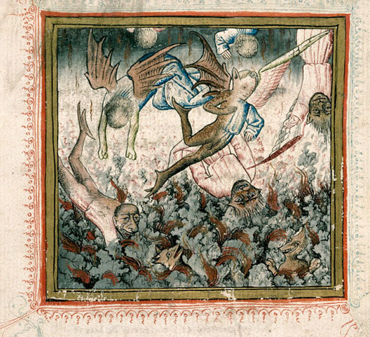 La Chute des anges, illustration de Georges Chastellain, Miroir de mort, 1470, Bibliothèque municipale, Carpentras.