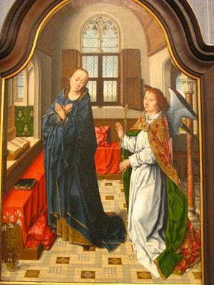 Annonce faite à Marie, Aelbrecht Bouts (Louvain, 1455- Louvain, 1549) (Gemäldegalerie, Berlin)
