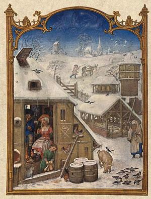 Le mois de janvier, Calendarum Grimani (école de Bering, Bruges, vers 1515)