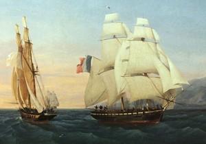 Le brick L'Inconstant du capitaine Taillade croise un navire de la marine royale (Ambroise-Louis Garneray, 1831, Musée de la marine, Toulon)