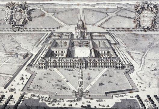 Vue en perspective de l'Hôtel royal des Invalides, gravure de Pierre Lepautre, vers 1680 (musée Carnavalet, Paris)