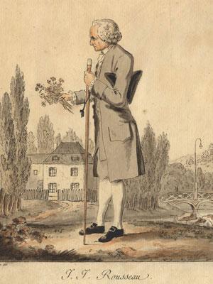 Jean-Jacques Rousseau herborisant à Ermenonville (gravure de Meyer)
