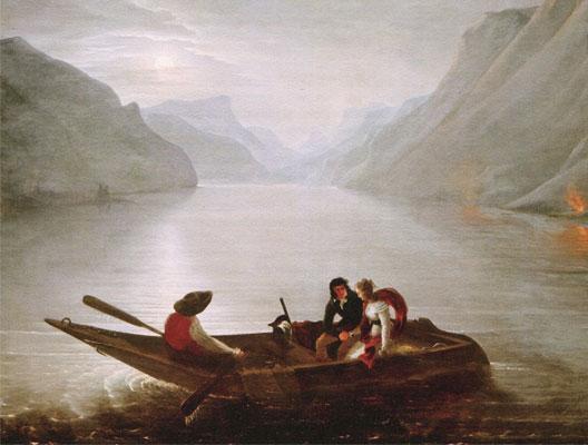 Julie et Saint-Preux sur le lac Léman (illustration de La Nouvelle Héloïse par Charles-Édouard Crespy)