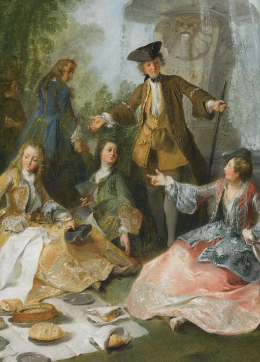 Le Repas au retour de la chasse (Nicolas Lancret, avant 1725, 90,3x123,5 cm, musée du Louvre)