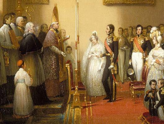 Mariage de Louise d'Orléans et Léopold 1er de Belgique à Compiègne le 9 août 1832 (Joseph-Désiré Court, musée national du château de Compiègne)