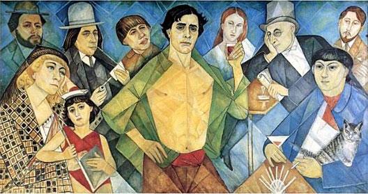 Hommage aux amis de Montparnasse : Diego Rivera, Marie Marevna et sa fille, Ehrengourg, Soutine, Modigliani, Jeanne Hébuterne, Max Jacob, Kisling et Zorowski (panneau mural de Marie Marevna)