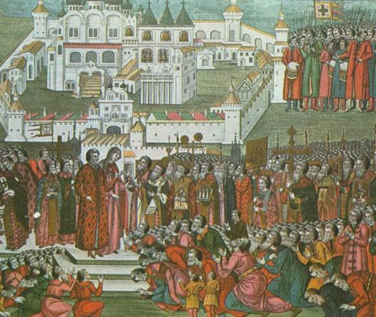 Les représentants du zemtsvo de Moscou supplient Michel Romanov d'accepter la couronne (miniature ancienne)