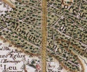 La forêt de Montmorency, au nord de Paris, et ses allées rectilignes (carte de Cassini, vers 1780)