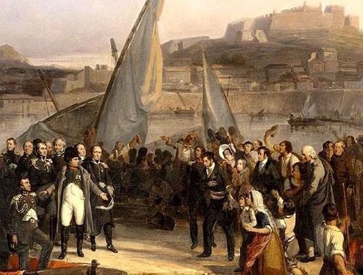 Napoléon fait ses adieux aux habitants de l'île d'Elbe le 26 février 1815 (Joseph Beaume, 1836, château de Versailles)