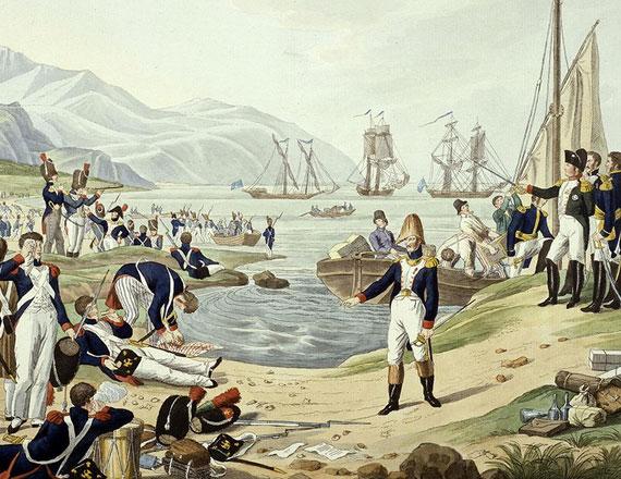 Napoléon débarque au golfe Juan le 1er mars 1815 et observe à la longue-vue les environs (Karl-Heinrich Rahl, musée de l'armée, Paris)