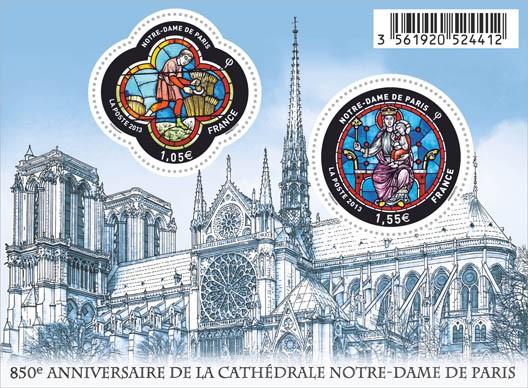 timbre commémoratifs de La Poste, 850e anniversaire de ND de Paris, DR