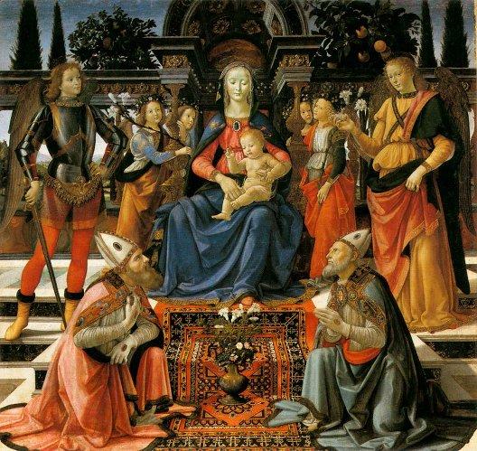 Domenico Ghirlandaio, Vierge et enfant entourés de saints, 1483, Florence, galerie des Offices