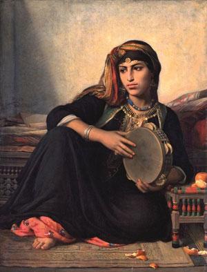 Félix-Auguste Clément, Fellah, fille d'un Cheikh El Bahalede, jouant du tambourin, vers 1862-1875, Lyon, musée des Beaux-Arts