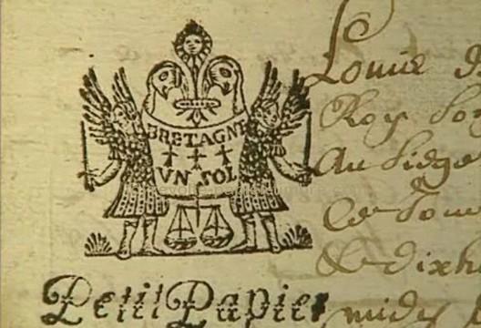 Exemplaire de papier avec timbre fiscal de Bretagne