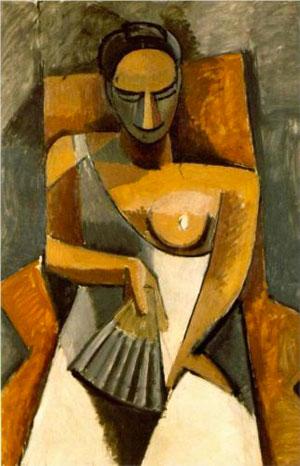 Pablo Picasso, Femme à l'éventail, 1907, musée de l'Ermitage, Saint-Pétersbourg (DR)