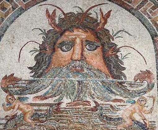 Tête d'Okéanos, IIIe s. ap. J.-C., Tunis, musée du Bardo