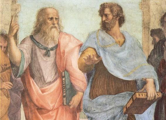 Raphaël, Platon et Aristote, détail de L'École d'Athènes, 1509-1512, Rome, musées du Vatican