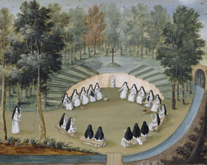 Les religieuses de l'abbaye de Port-Royal-des-Champs faisant la conférence dans la solitude (Louise-Madeleine Cochin, musée de Port-Royal des Champs)