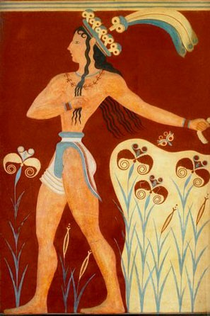 Le Prince aux Lys, fresque du palais de Cnossos (vers 1500 av. J.-C.)