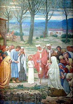 Sainte Geneviève rencontre saint Germain d'Auxerre (Pierre Puvis de Chavannes, 1878, Panthéon de Paris)