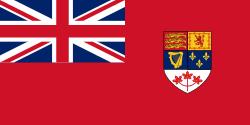 Le Red Ensign de la marine britannique avec l'écu des armoiries canadiennes