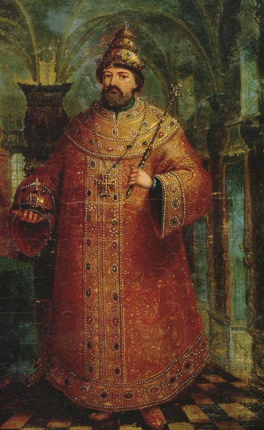 Michel Fédorovitch Romanov (21 juin 1596 - Moscou, 23 juillet 1645), gravure de la fin du XVIIe siècle, musée national russe, Moscou