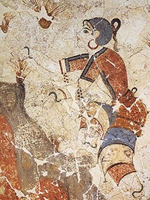 Cueilleuse de safran, fresque d'Akrotiri, Santorin, 1500 av. J.-C., Athènes, Musée national archéologique
