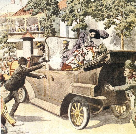 Assassinat de l'archiduc François-Ferdinand et de sa femme Sophie Chotek à Sarajevo (gravure d'époque)