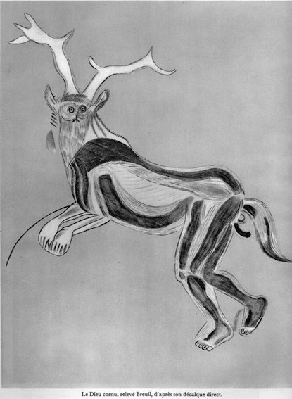 Abbé Breuil, Décalque du Dieu cornu de la grotte des Trois-Frères, découverte en 1916