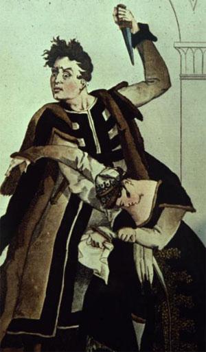 Talma et Mlle Duchesnois dans Hamlet, gravure non datée, Biblioteca Civica, Turin