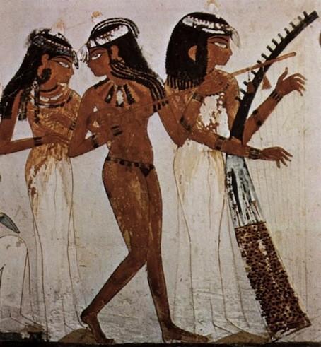 Ensemble instrumental à cordes. Peinture murale de la tombe du scribe Nakht, XVIIIe dynastie, New York, Norbert Schimmel Collection.