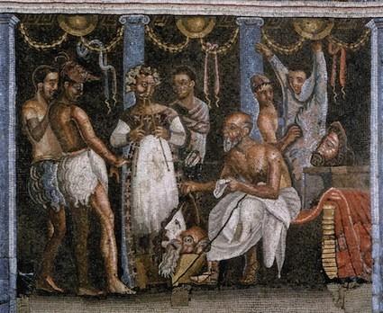 Acteurs romains se préparant pour un spectacle, mosaïque de la Maison du Poète Tragique à Pompéi, Ier siècle après J.-C.