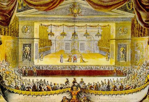 Peinture du XVIIIe s. montrant une représentation du Malade imaginaire de Molière, à Versailles, pour les fêtes de 1674.