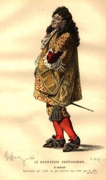 Anonyme, Monsieur Jourdain dans Le Bourgeois gentilhomme, dessin du XVIIe s.