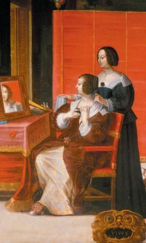 Femme à sa toilette (d'après Abraham Bosse, après 1635, musée des Beaux-Arts, Tours,)