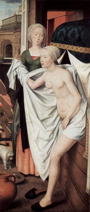 Hans Memling, Bethsabée au bain, 1480, Stuttgart, Staaytsgalerie.