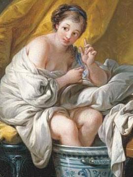 François Boucher, Jeune femme prenant un bain de pieds, 1766, coll. part.
