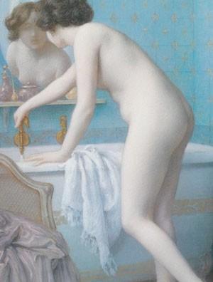 Jules Scalberg, Jeune femme se préparant au bain, 1910, coll. part.